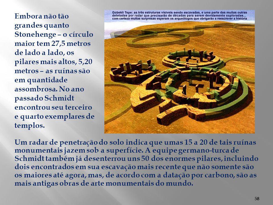 58 Um radar de penetração do solo indica que umas 15 a 20 de tais ruínas monumentais jazem sob a superfície. A equipe germano-turca de Schmidt também