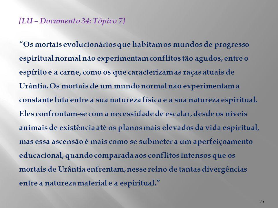 """75 [LU – Documento 34: Tópico 7] """"Os mortais evolucionários que habitam os mundos de progresso espiritual normal não experimentam conflitos tão agudos"""