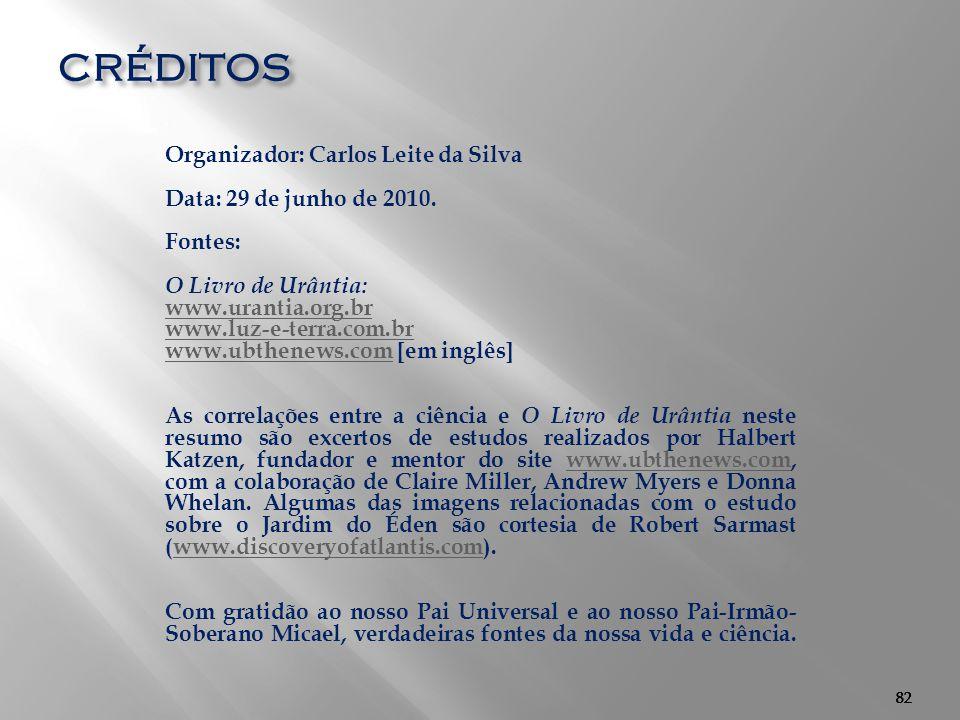 82 créditos Organizador: Carlos Leite da Silva Data: 29 de junho de 2010. Fontes: O Livro de Urântia: www.urantia.org.br www.luz-e-terra.com.br www.ub