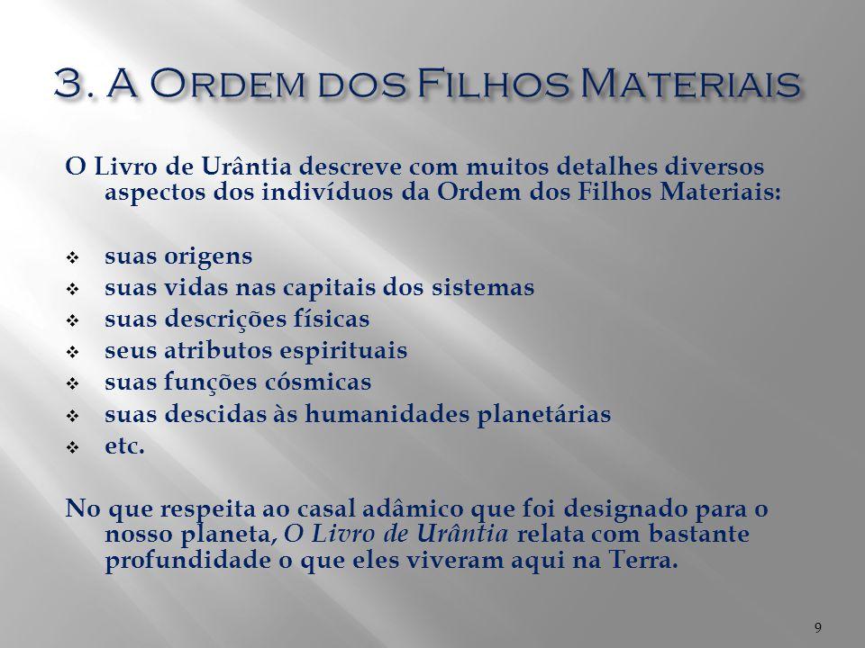 O Livro de Urântia descreve com muitos detalhes diversos aspectos dos indivíduos da Ordem dos Filhos Materiais:  suas origens  suas vidas nas capita