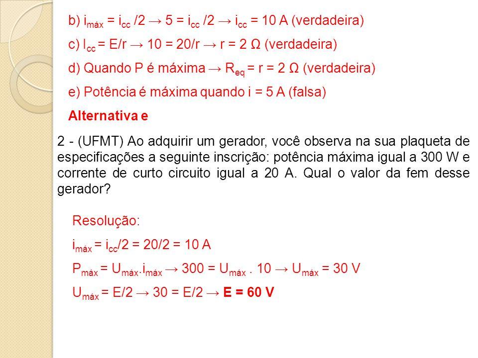b) i máx = i cc /2 → 5 = i cc /2 → i cc = 10 A (verdadeira) c) I cc = E/r → 10 = 20/r → r = 2 Ω (verdadeira) d) Quando P é máxima → R eq = r = 2 Ω (ve