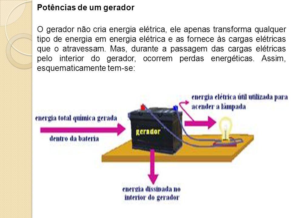 Potências de um gerador O gerador não cria energia elétrica, ele apenas transforma qualquer tipo de energia em energia elétrica e as fornece às cargas