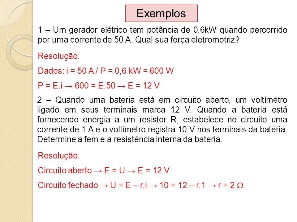 1 – Um gerador elétrico tem potência de 0,6kW quando percorrido por uma corrente de 50 A. Qual sua força eletromotriz? Exemplos 2 – Quando uma bateria