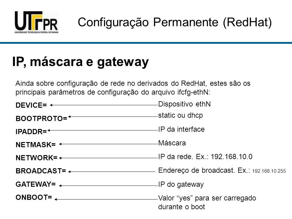 IP, máscara e gateway Ainda sobre configuração de rede no derivados do RedHat, estes são os principais parâmetros de configuração do arquivo ifcfg-eth