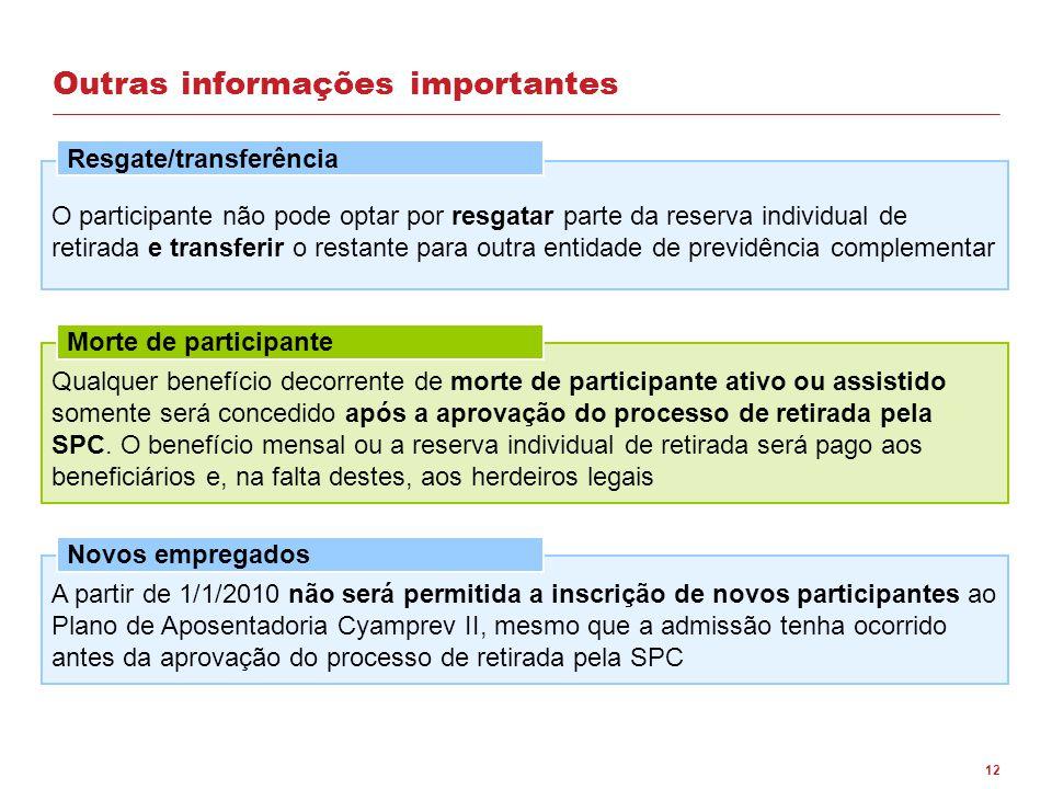 12 Outras informações importantes O participante não pode optar por resgatar parte da reserva individual de retirada e transferir o restante para outr
