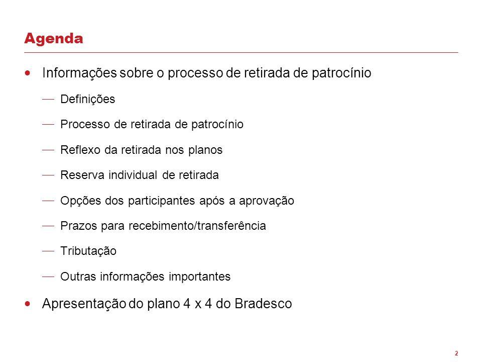 2 Agenda  Informações sobre o processo de retirada de patrocínio  Definições  Processo de retirada de patrocínio  Reflexo da retirada nos planos 