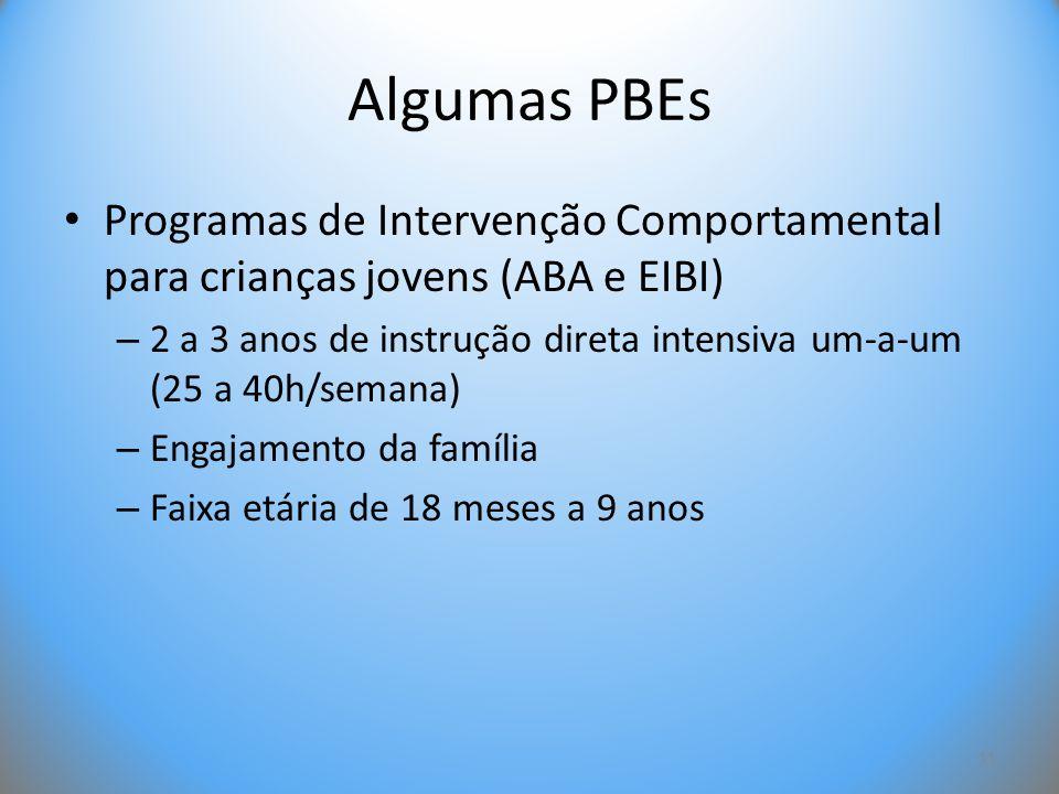 Algumas PBEs • Programas de Intervenção Comportamental para crianças jovens (ABA e EIBI) – 2 a 3 anos de instrução direta intensiva um-a-um (25 a 40h/