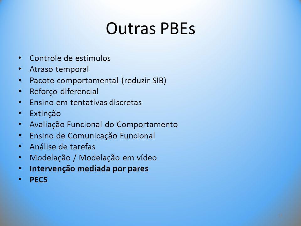 Outras PBEs • Controle de estímulos • Atraso temporal • Pacote comportamental (reduzir SIB) • Reforço diferencial • Ensino em tentativas discretas • E