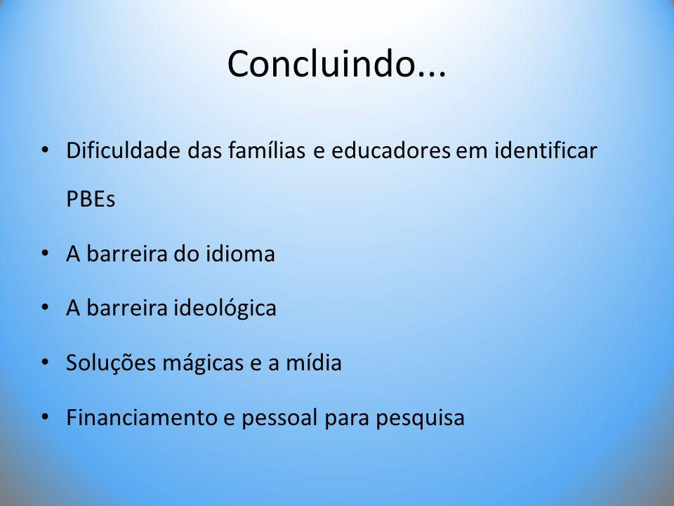 Concluindo... • Dificuldade das famílias e educadores em identificar PBEs • A barreira do idioma • A barreira ideológica • Soluções mágicas e a mídia