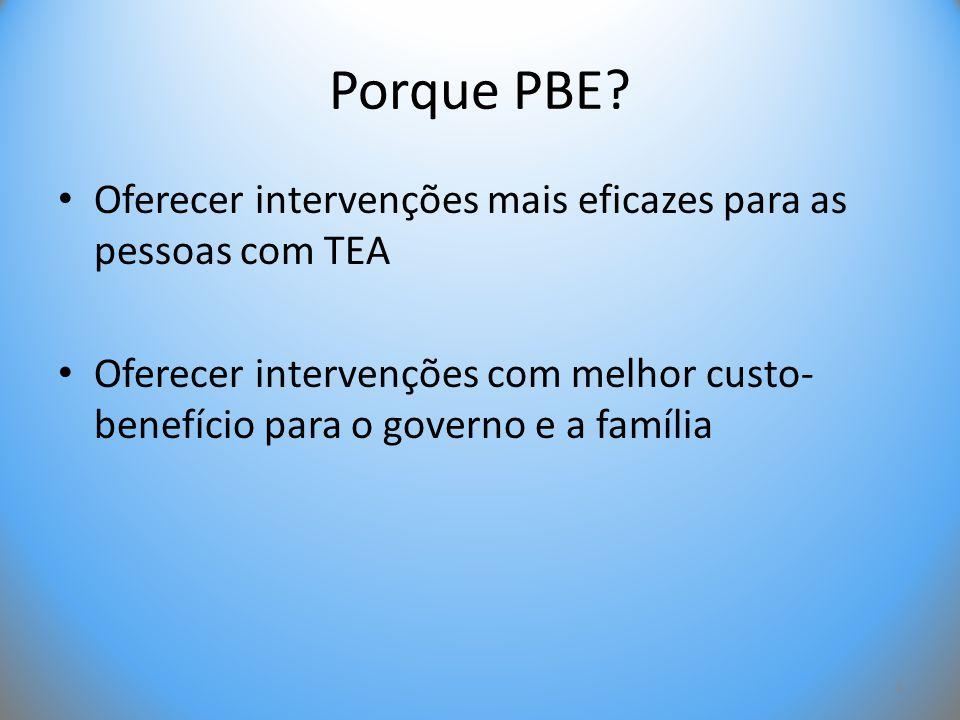 Porque PBE? • Oferecer intervenções mais eficazes para as pessoas com TEA • Oferecer intervenções com melhor custo- benefício para o governo e a famíl