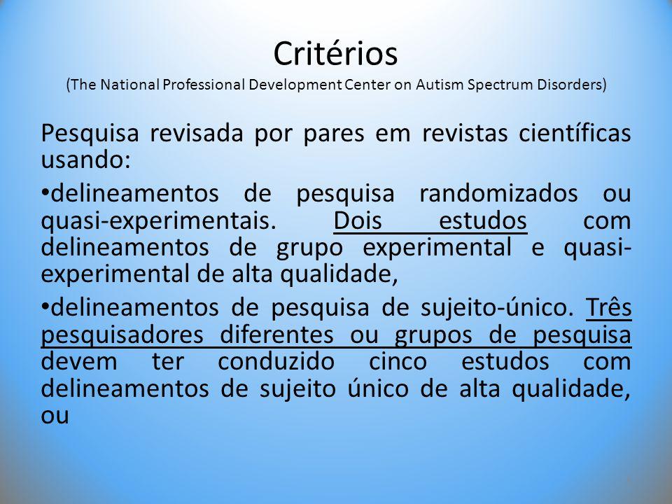 Critérios (The National Professional Development Center on Autism Spectrum Disorders) Pesquisa revisada por pares em revistas científicas usando: • de