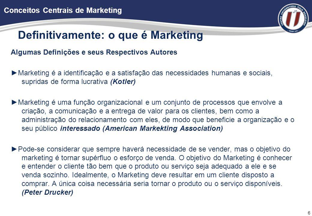 7 Objetivo do Marketing: Provocar uma resposta comportamental da outra parte; Consiste na tomada de ações que provoquem a reação desejada de um público-alvo.