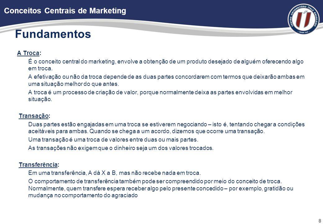 8 Fundamentos A Troca: É o conceito central do marketing, envolve a obtenção de um produto desejado de alguém oferecendo algo em troca.