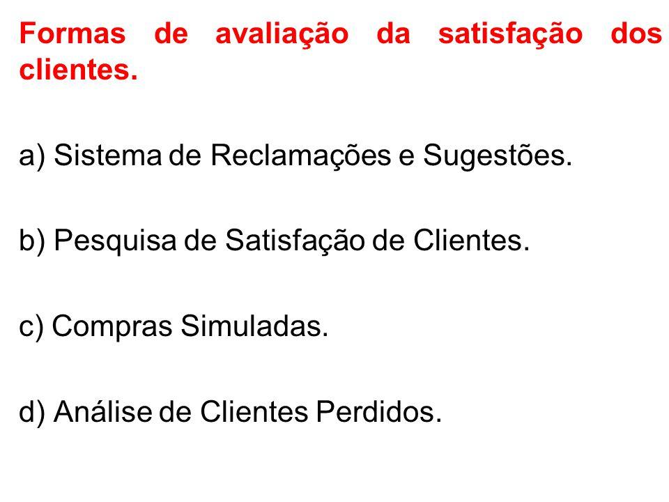 Formas de avaliação da satisfação dos clientes.a) Sistema de Reclamações e Sugestões.