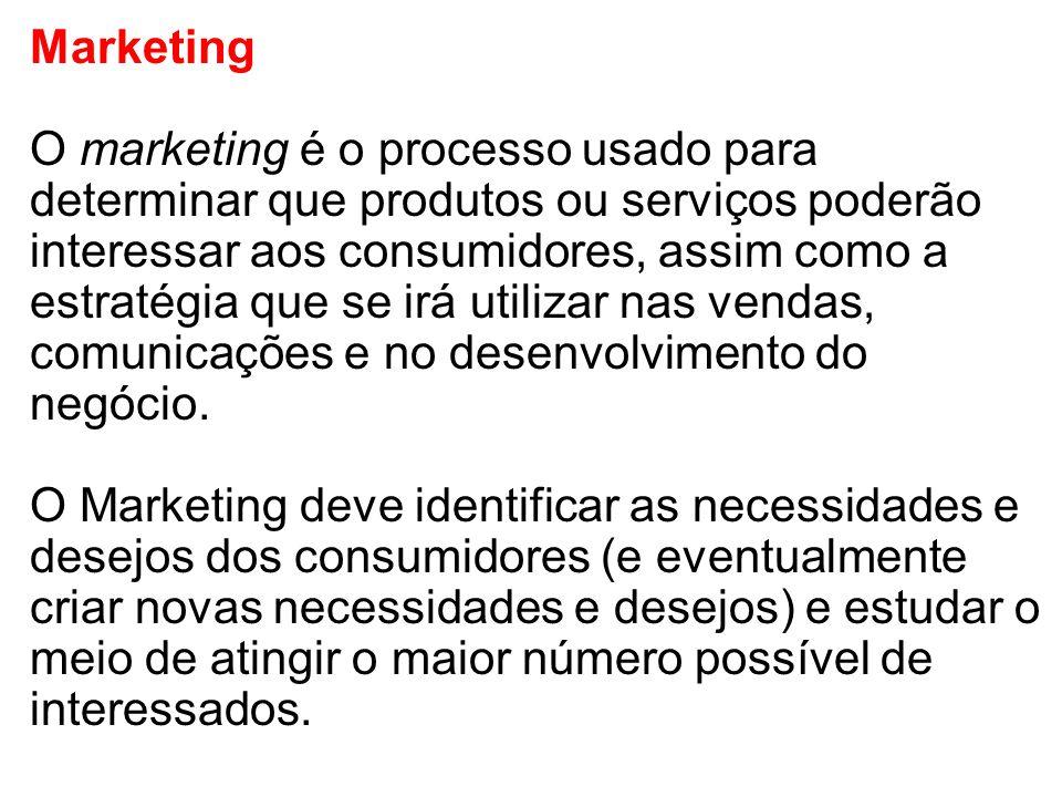 Marketing O marketing é o processo usado para determinar que produtos ou serviços poderão interessar aos consumidores, assim como a estratégia que se irá utilizar nas vendas, comunicações e no desenvolvimento do negócio.