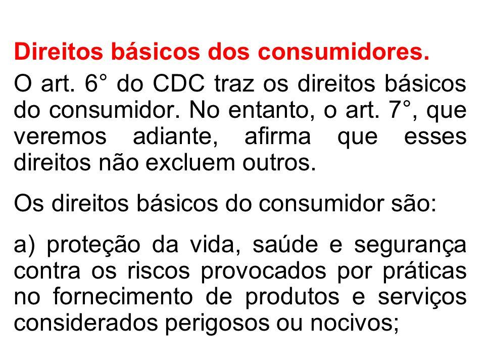 Direitos básicos dos consumidores.O art. 6° do CDC traz os direitos básicos do consumidor.