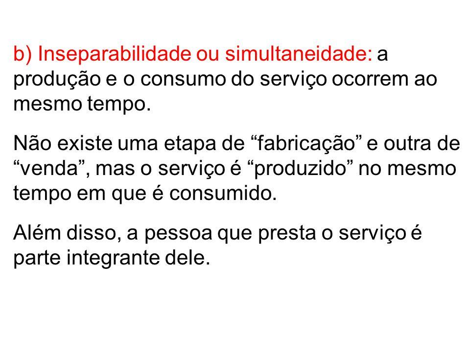 c) Heterogeneidade ou Variabilidade: o serviço variará de profissional para profissional, de empresa para empresa, de serviço para serviço.