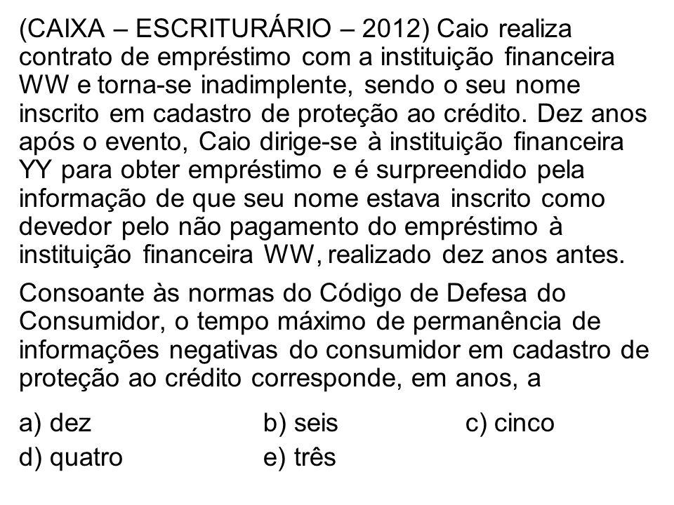 (CAIXA – ESCRITURÁRIO – 2012) Caio realiza contrato de empréstimo com a instituição financeira WW e torna-se inadimplente, sendo o seu nome inscrito em cadastro de proteção ao crédito.