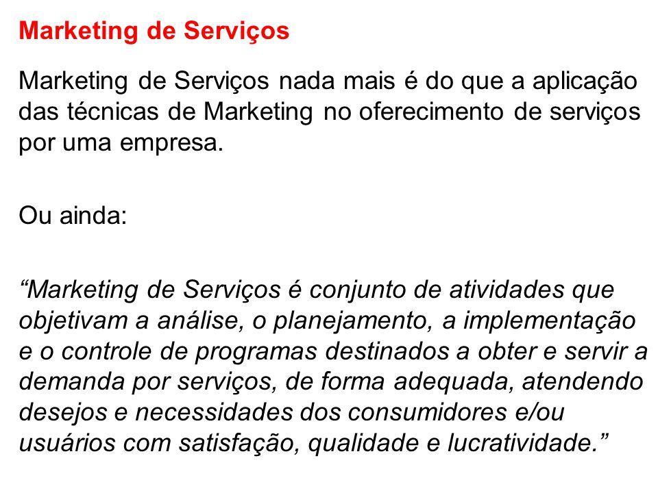 Marketing de Serviços Marketing de Serviços nada mais é do que a aplicação das técnicas de Marketing no oferecimento de serviços por uma empresa.