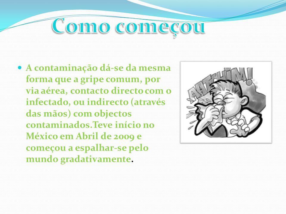  A contaminação dá-se da mesma forma que a gripe comum, por via aérea, contacto directo com o infectado, ou indirecto (através das mãos) com objectos