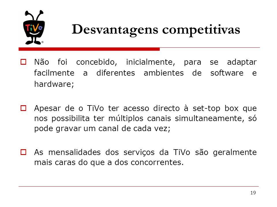 19 Desvantagens competitivas  Não foi concebido, inicialmente, para se adaptar facilmente a diferentes ambientes de software e hardware;  Apesar de o TiVo ter acesso directo à set-top box que nos possibilita ter múltiplos canais simultaneamente, só pode gravar um canal de cada vez;  As mensalidades dos serviços da TiVo são geralmente mais caras do que a dos concorrentes.