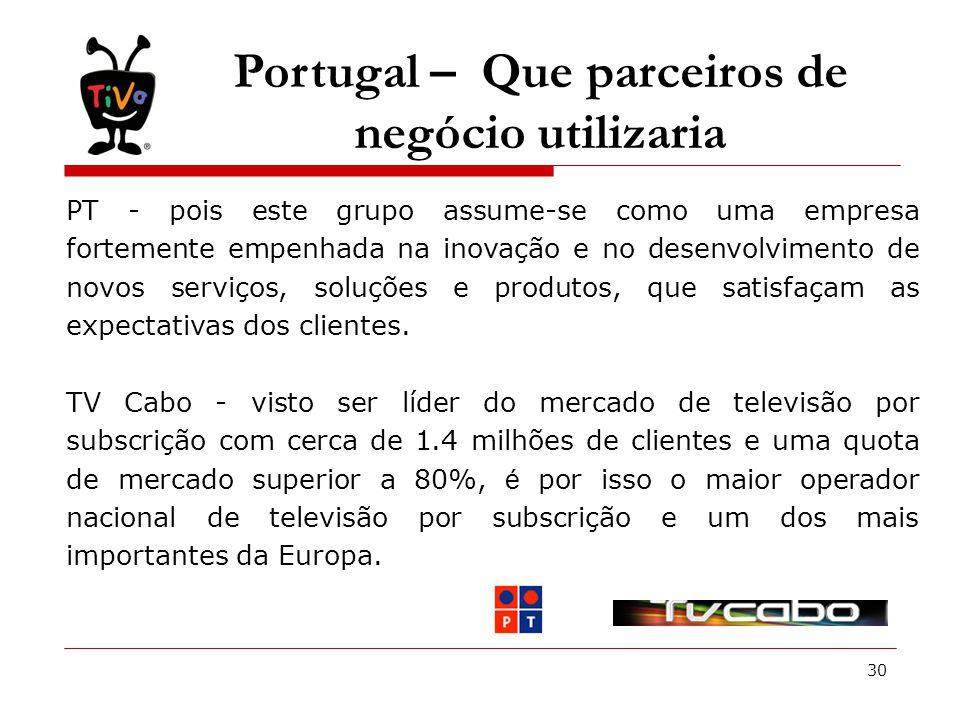 30 Portugal – Que parceiros de negócio utilizaria PT - pois este grupo assume-se como uma empresa fortemente empenhada na inovação e no desenvolvimento de novos serviços, soluções e produtos, que satisfaçam as expectativas dos clientes.