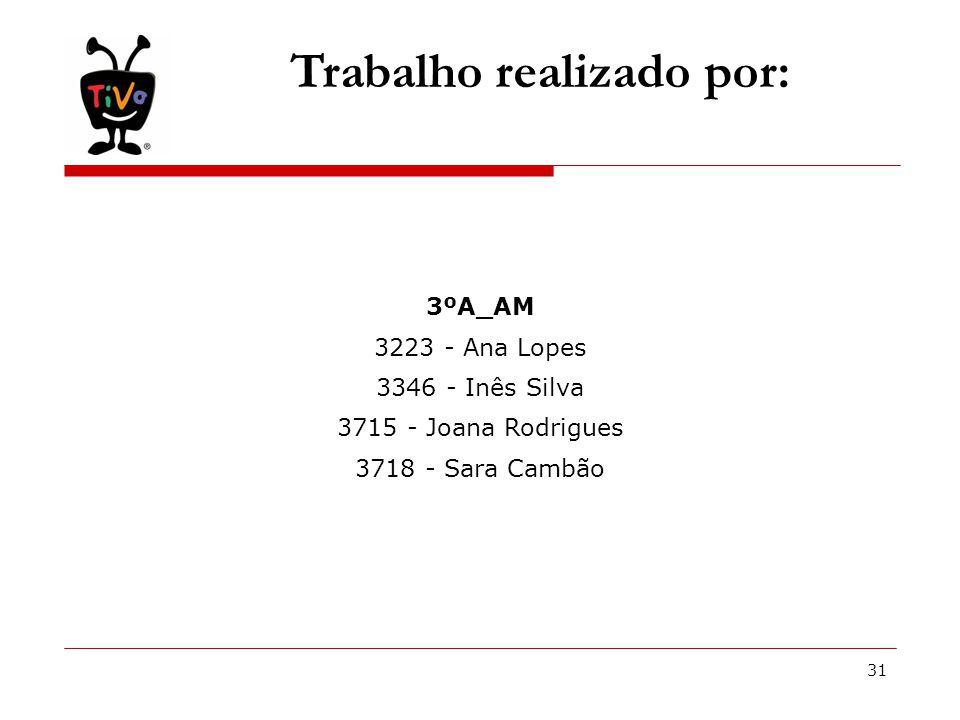 31 Trabalho realizado por: 3ºA_AM 3223 - Ana Lopes 3346 - Inês Silva 3715 - Joana Rodrigues 3718 - Sara Cambão