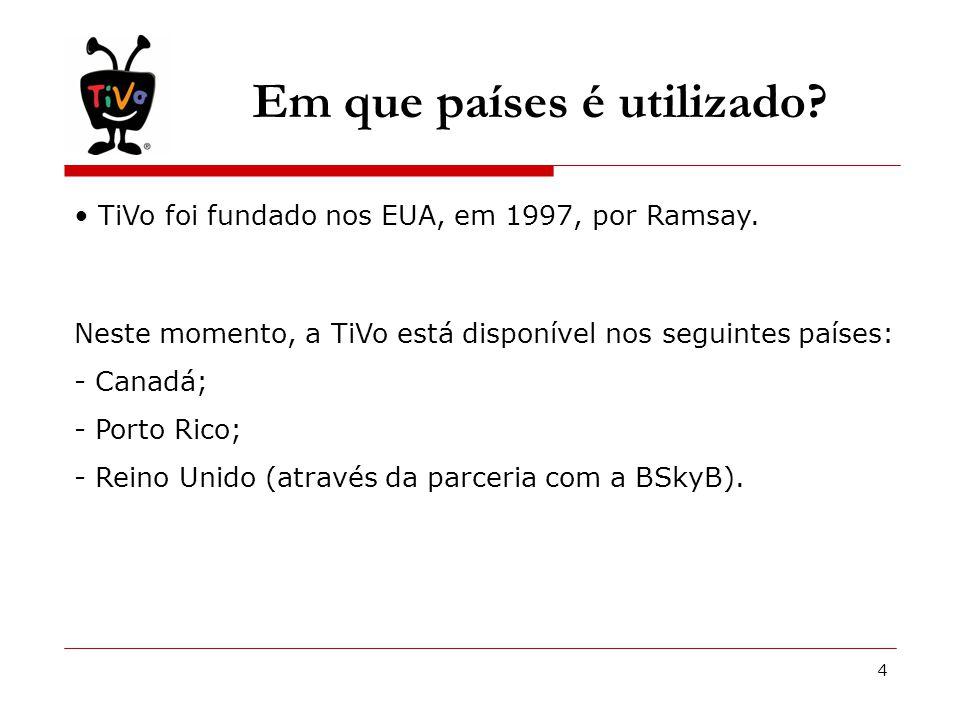 4 Em que países é utilizado. • TiVo foi fundado nos EUA, em 1997, por Ramsay.