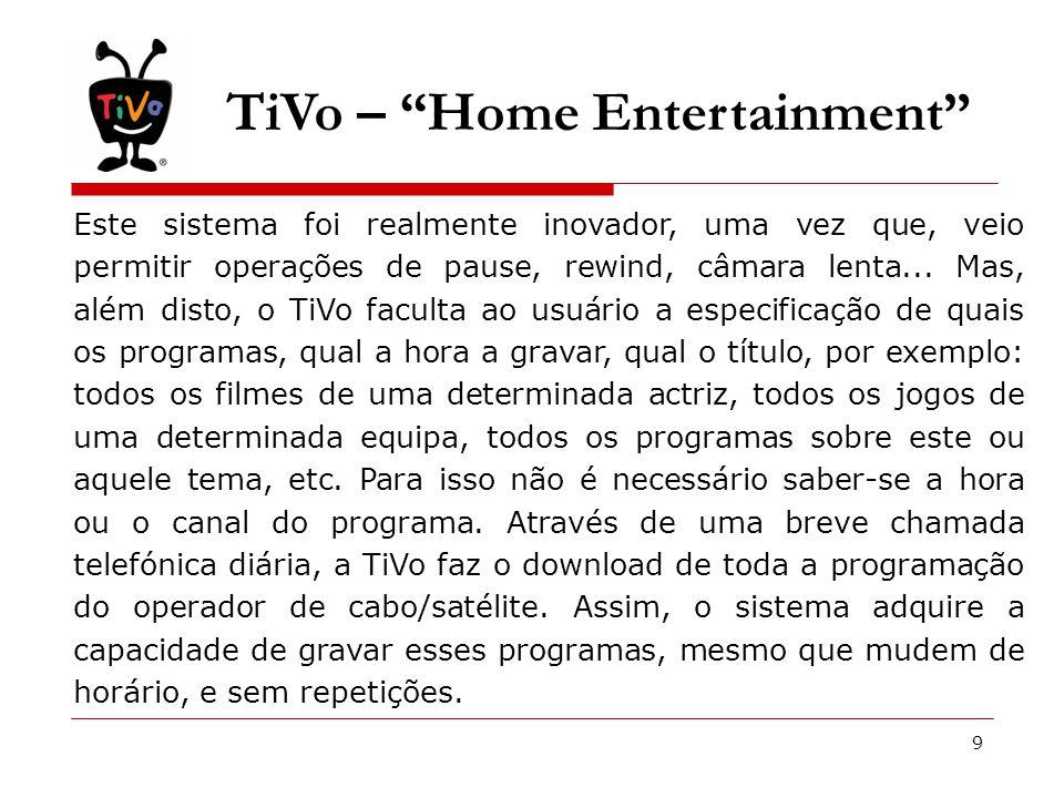 10 Parceiros de Negócio O TiVo, como pioneiro na gravação de vídeo digital, estabeleceu relações sólidas com os líderes do mundo do entretenimento, desde as maiores redes de Televisão, passando por fornecedores de serviços até aos fabricantes de consumíveis electrónicos.