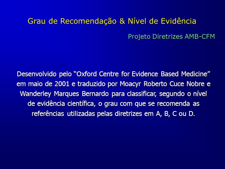 """Grau de Recomendação & Nível de Evidência Projeto Diretrizes AMB-CFM Desenvolvido pelo """"Oxford Centre for Evidence Based Medicine"""" em maio de 2001 e t"""