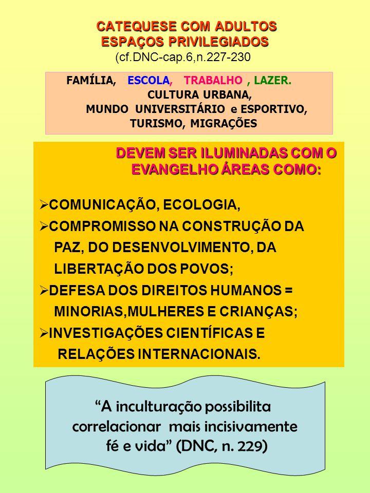 CATEQUESE COM ADULTOS ESPAÇOS PRIVILEGIADOS CATEQUESE COM ADULTOS ESPAÇOS PRIVILEGIADOS (cf.DNC-cap.6,n.227-230 FAMÍLIA, ESCOLA, TRABALHO, LAZER. CULT