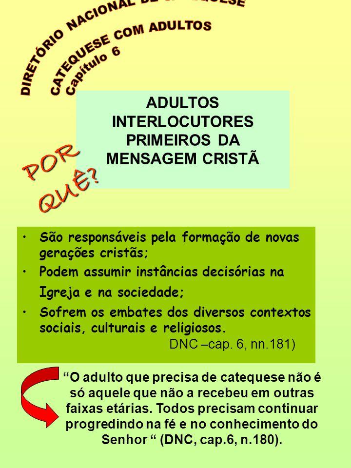 •São responsáveis pela formação de novas gerações cristãs; •Podem assumir instâncias decisórias na Igreja e na sociedade; •Sofrem os embates dos diver