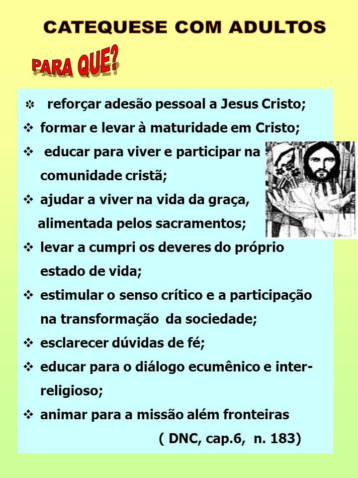 ✽ reforçar adesão pessoal a Jesus Cristo;  formar e levar à maturidade em Cristo;  educar para viver e participar na comunidade cristã;  ajudar a v