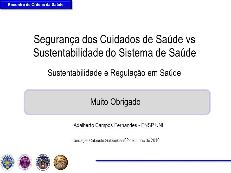 Sustentabilidade e Regulação em Saúde Segurança dos Cuidados de Saúde vs Sustentabilidade do Sistema de Saúde Fundação Calouste Gulbenkian 02 de Junho