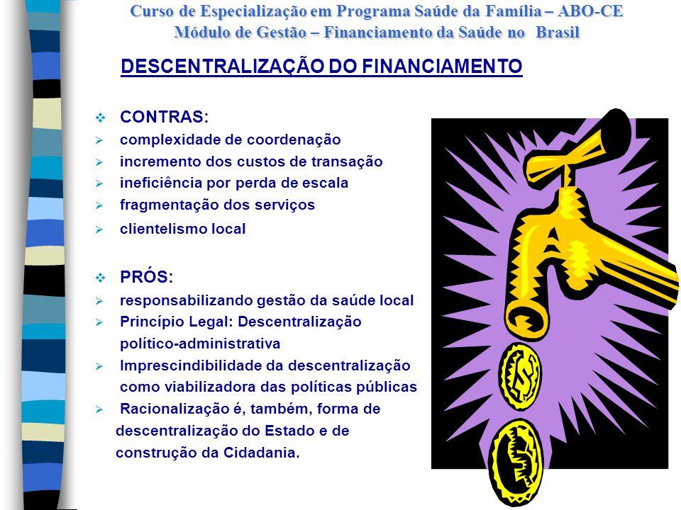 Curso de Especialização em Programa Saúde da Família – ABO-CE Módulo de Gestão – Financiamento da Saúde no Brasil ANOFEDERALESTADUALMUNICIPAL GASTO PÚBLICO PER CAPTA 19807.3561.66668881,59 19827.1481.37975575,13 19845.9571.47072963,58 19867.3411.9631.06280,03 198810.030(-) 591.53583,24 19909.4521.6211.42487,13 19926.5711.3431.16565,11 199410.4001.5002.00091,00 199614.0002.0002.500117,00 199718.9002.2003.000152,00 EVOLUÇÃO DA PARTICIPAÇÃO DAS ESFERAS DE GOVERNO NO FINANCIAMENTO DA SAÚDE NO BRASIL Fonte: Couttolenc e Zucchi – Volume 10, Gestão de Recursos Financeiros, Coleção Saúde e Cidadania, 2002 - IPEA e IESP/FUNDAP