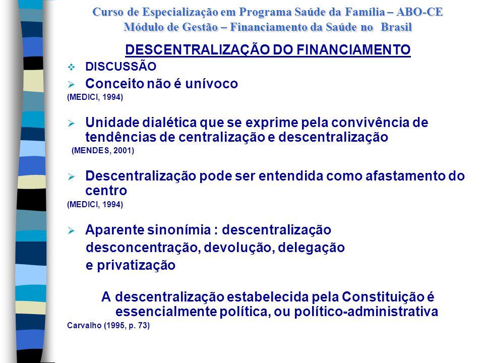 Curso de Especialização em Programa Saúde da Família – ABO-CE Módulo de Gestão – Financiamento da Saúde no Brasil DESCENTRALIZAÇÃO DO FINANCIAMENTO  CONTRAS:  complexidade de coordenação  incremento dos custos de transação  ineficiência por perda de escala  fragmentação dos serviços  clientelismo local  PRÓS:  responsabilizando gestão da saúde local  Princípio Legal: Descentralização político-administrativa  Imprescindibilidade da descentralização como viabilizadora das políticas públicas  Racionalização é, também, forma de descentralização do Estado e de construção da Cidadania.