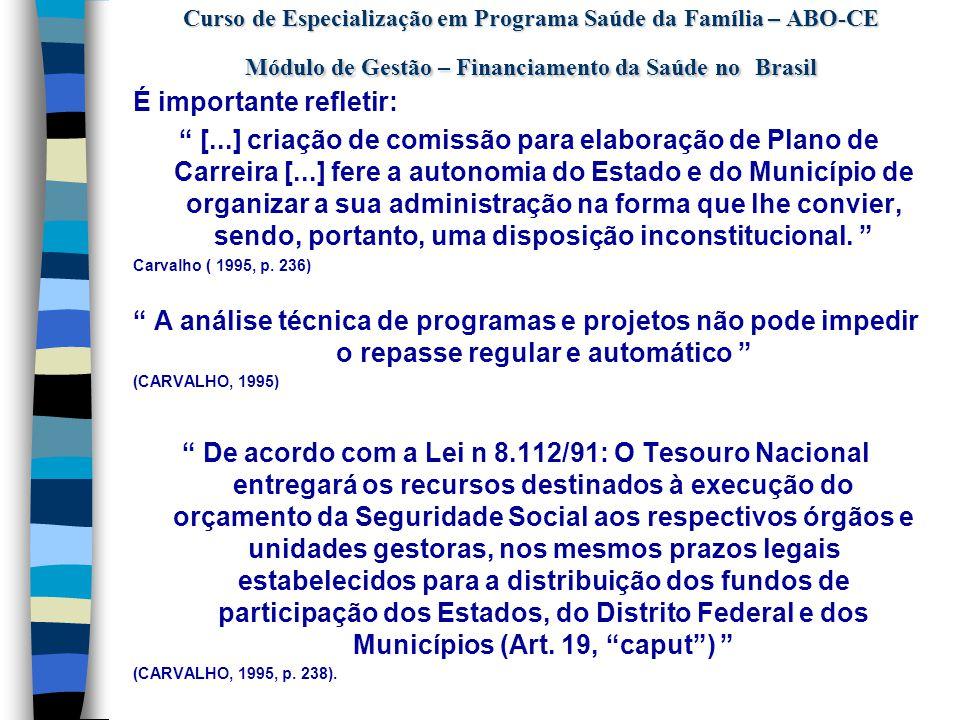 Curso de Especialização em Programa Saúde da Família – ABO-CE Módulo de Gestão – Financiamento da Saúde no Brasil  Constituição Federal 1988  Art.
