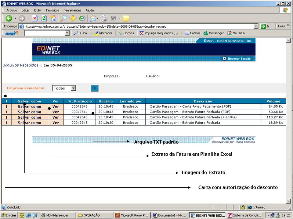 Carta com autorização do desconto Extrato da Fatura em Planilha Excel Imagem do Extrato Arquivo TXT padrão