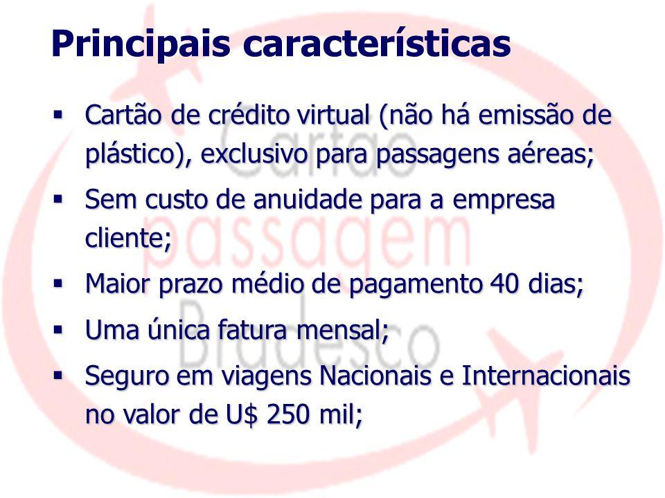 Principais características  Cartão de crédito virtual (não há emissão de plástico), exclusivo para passagens aéreas;  Sem custo de anuidade para a e