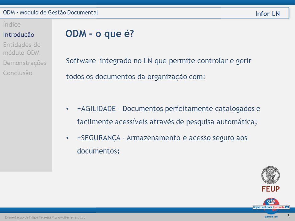 Dissertação de Filipe Ferreira // www.fferreira.pt.vc Infor LN 13 ODM - Módulo de Gestão Documental Índice Introdução Entidades do módulo ODM Demonstrações Conclusão Questões?