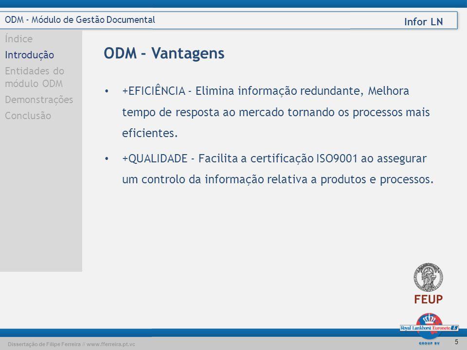 Dissertação de Filipe Ferreira // www.fferreira.pt.vc Infor LN 4 ODM - Módulo de Gestão Documental Índice Introdução Entidades do módulo ODM Demonstra