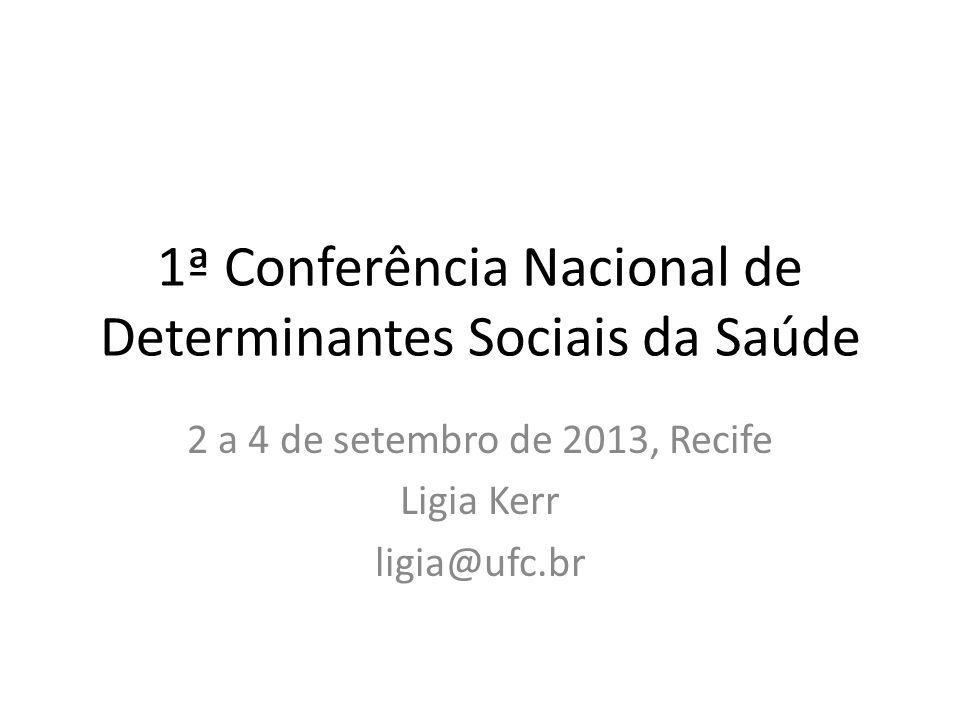 1ª Conferência Nacional de Determinantes Sociais da Saúde 2 a 4 de setembro de 2013, Recife Ligia Kerr ligia@ufc.br