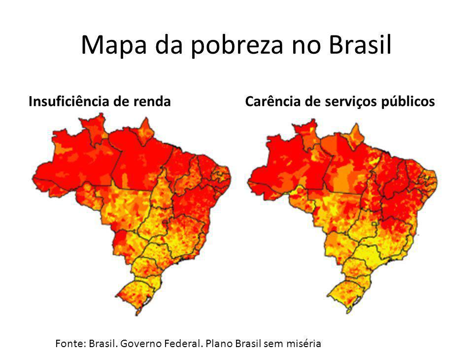 Mapa da pobreza no Brasil Insuficiência de rendaCarência de serviços públicos Fonte: Brasil. Governo Federal. Plano Brasil sem miséria