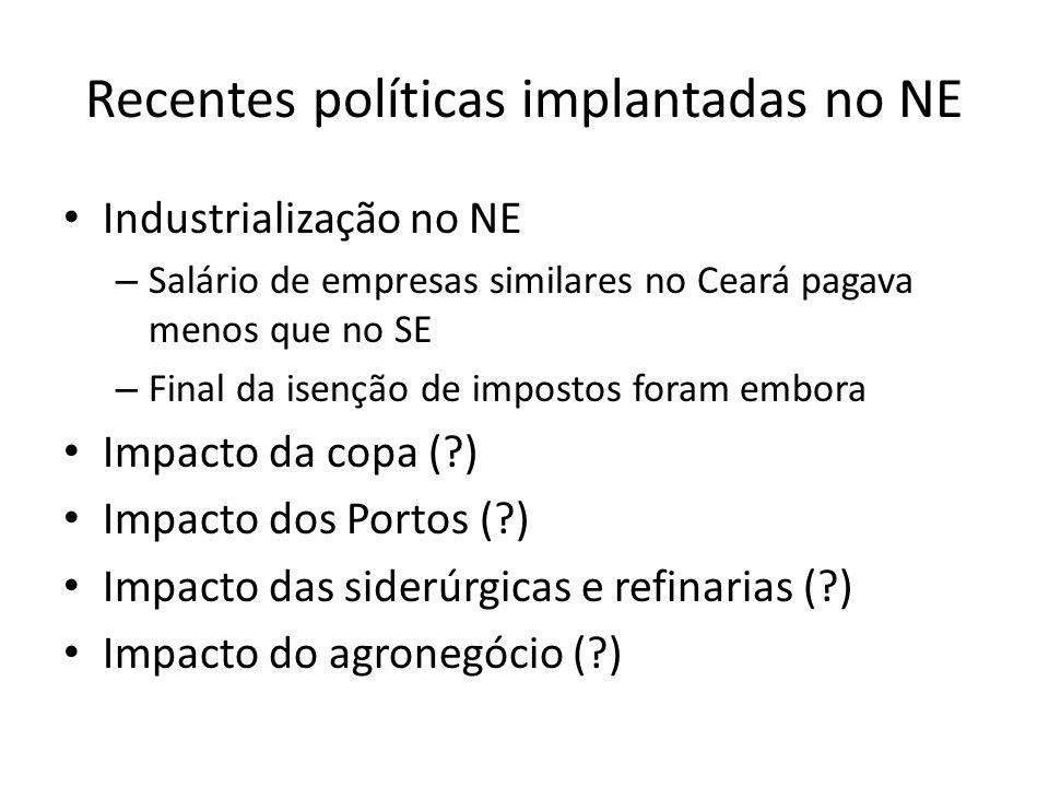Recentes políticas implantadas no NE • Industrialização no NE – Salário de empresas similares no Ceará pagava menos que no SE – Final da isenção de im