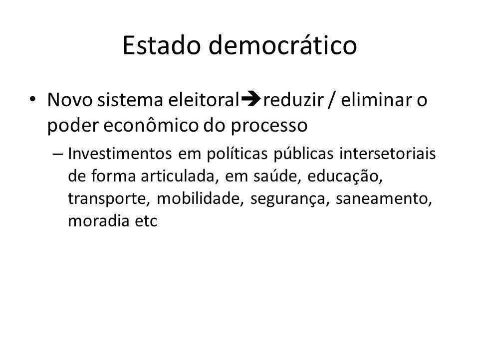 Estado democrático • Novo sistema eleitoral  reduzir / eliminar o poder econômico do processo – Investimentos em políticas públicas intersetoriais de