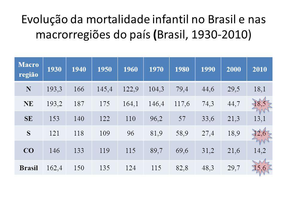 Mudança do perfil com a evolução da mortalidade infantil no Brasil • Aumento da mortalidade infantil neonatal: qualidade do pré-natal e parto – Transmissão materno-infantil do HIV cerca de 4 vezes maior que em SP • A quase totalidade das crianças que foram salvas pela mortalidade infantil  mortalidade por violência (ganges, polícia)