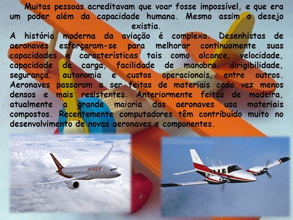 Muitas pessoas acreditavam que voar fosse impossível, e que era um poder além da capacidade humana. Mesmo assim o desejo existia. A história moderna d