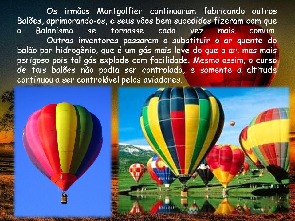 Os irmãos Montgolfier continuaram fabricando outros Balões, aprimorando-os, e seus vôos bem sucedidos fizeram com que o Balonismo se tornasse cada vez