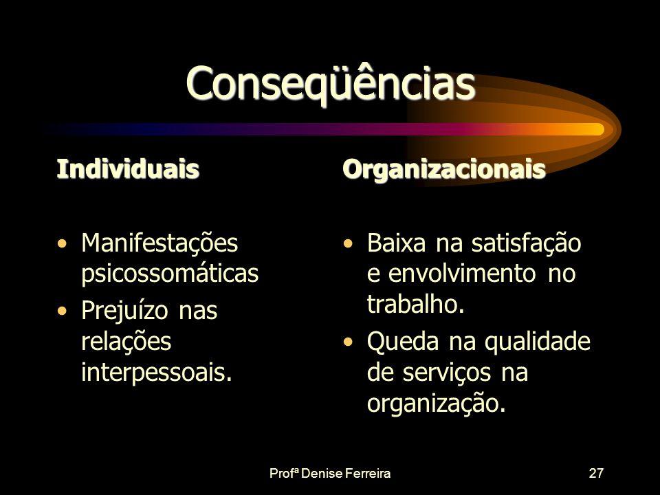 Profª Denise Ferreira26 Etiologia da Síndrome •Os estudos têm enfatizado aspectos organizacionais nas causas da síndrome. •Incluem aspectos como a Cul