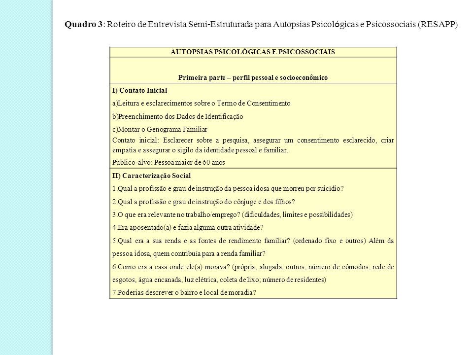 Autópsias psicológicas e psicossociais  III) Retrato e Modo de Vida  Como você descreve o(a) idoso(a) aqui estudado(a).
